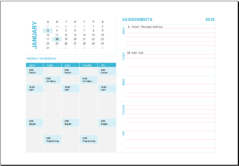 Ms excel weekly task planning calendar template excel for Monthly task list template excel