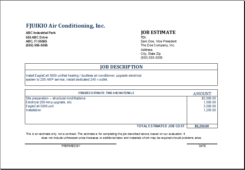 job estimate template excel koni polycode co