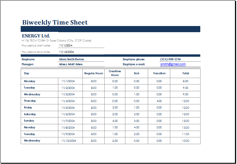 Biweekly Time Sheet With Sick Leave U0026 Vacation