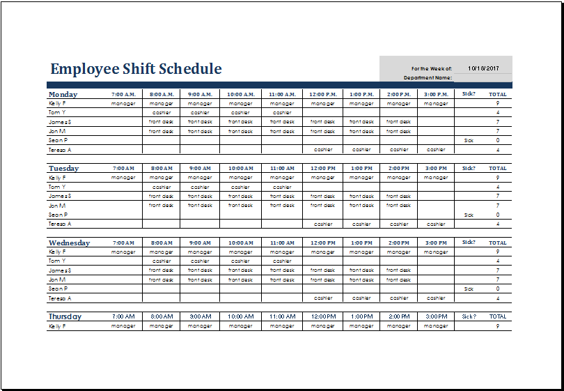 Employee Shift Schedule Template Ms Excel Excel Templates