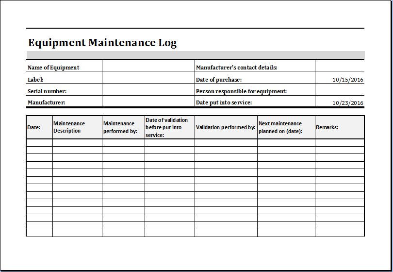equipment maintenance log template