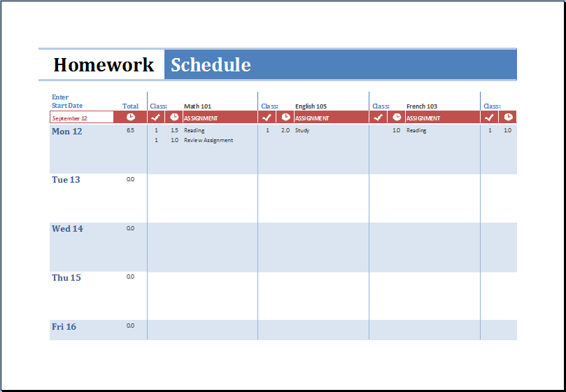 MS Excel Printable Homework Schedule Template | Excel Templates