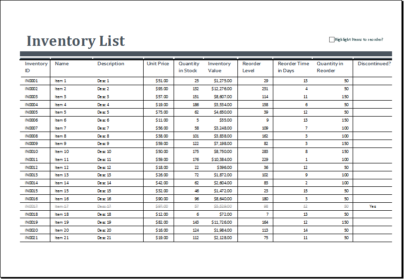 Inventory Sheets Template – Sample Inventory List