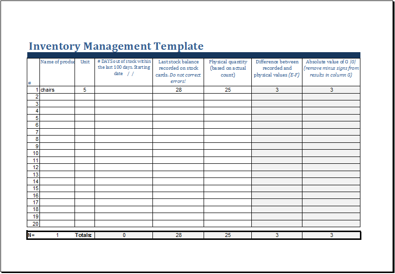 MS Excel Printable Inventory Management Template | Excel Templates