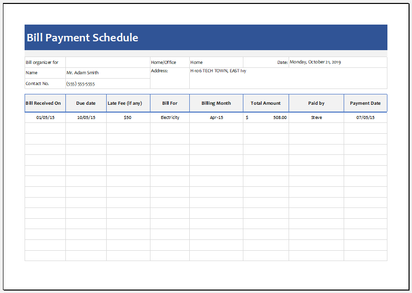 bill payment schedule ms excel editable template