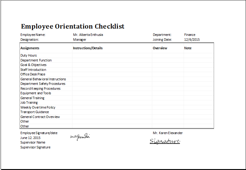 MS Excel Employee Orientation Checklist Editable Template – Induction Checklist Template