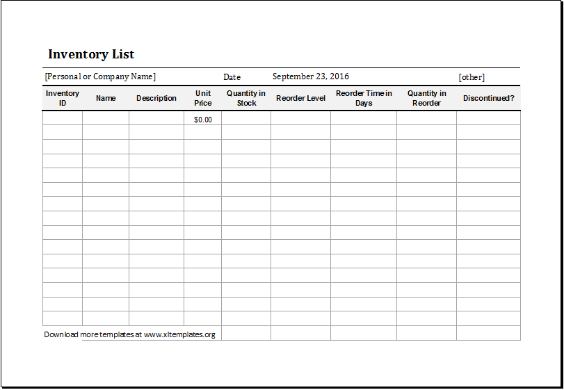 Inventory List Template for MS Excel – House Inventory List Template