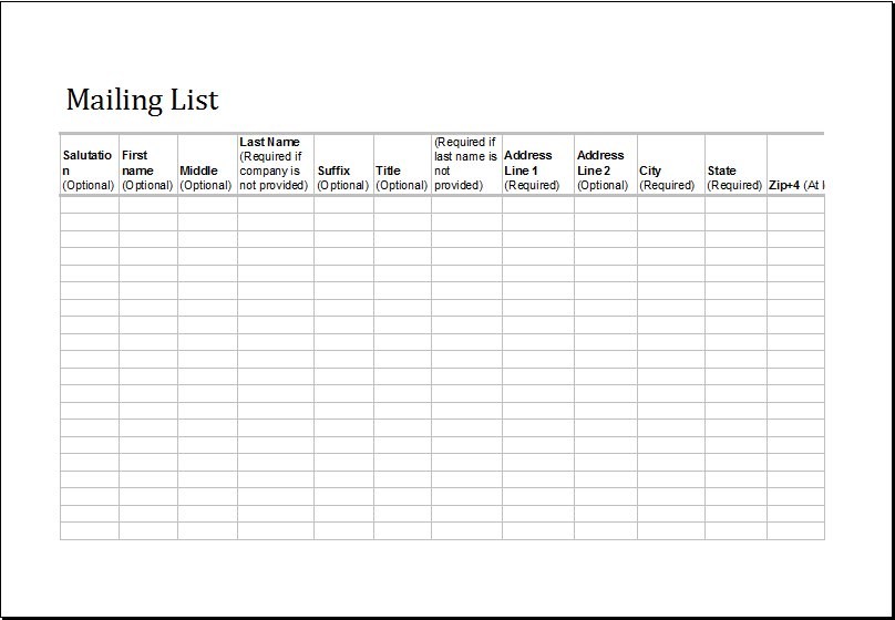 Mailing List Template  Contact List Excel Template