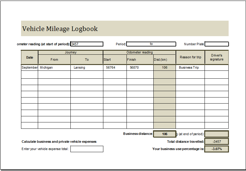 Vehicle Mileage Log book
