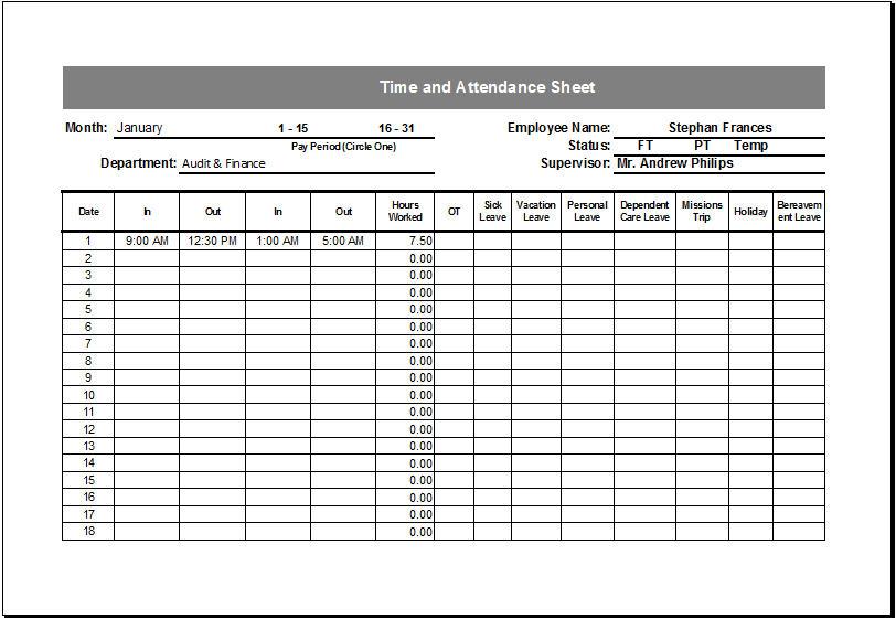 Editable Printable Time and Attendance Sheet – Daily Attendance Template