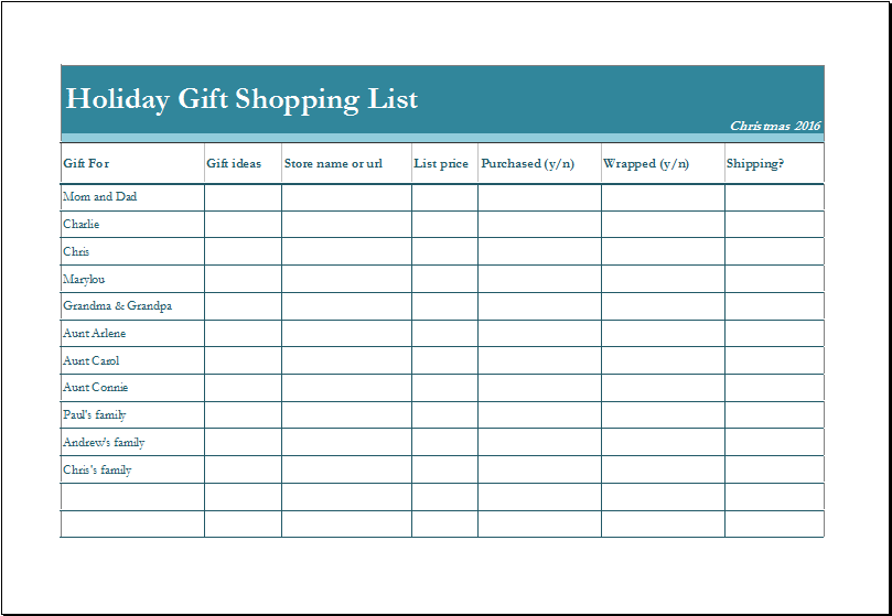 Holiday Gift Shopping List Fully Customizable Template | Excel Templates