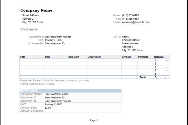 billing statement invoice template