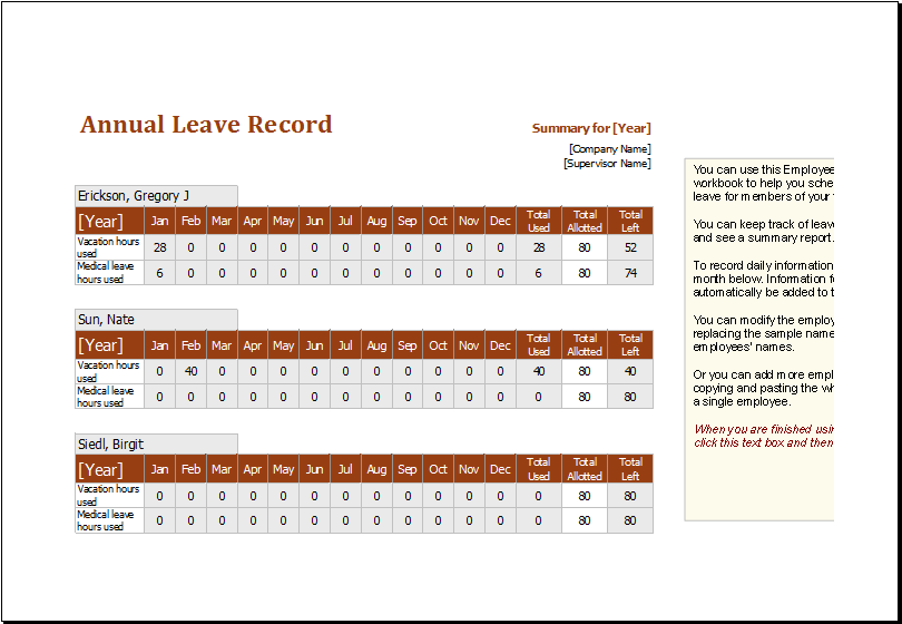 employee annual leave record spreadsheet editable ms excel template