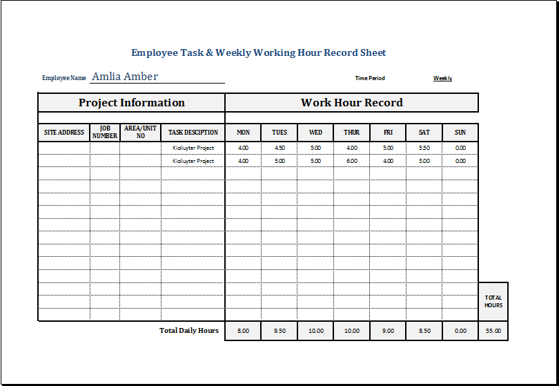 employee task weekly working hour record sheet excel templates. Black Bedroom Furniture Sets. Home Design Ideas