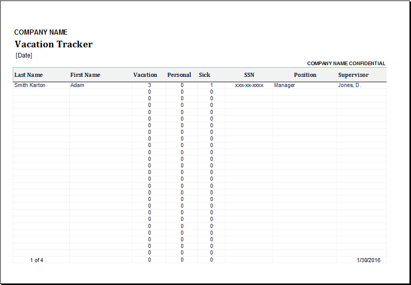 employee vacation tracker for excel excel templates