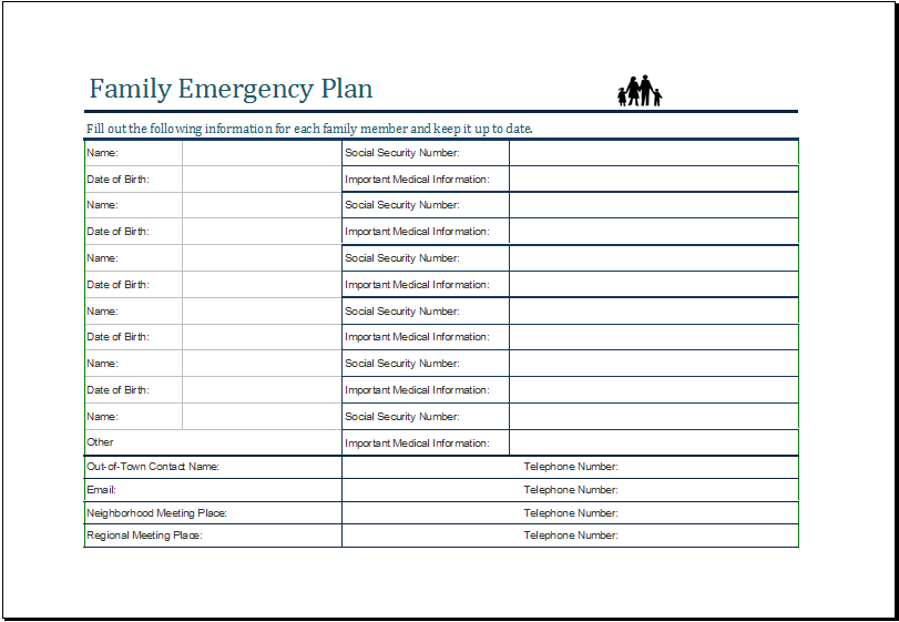 family emergency plan sheet. Black Bedroom Furniture Sets. Home Design Ideas