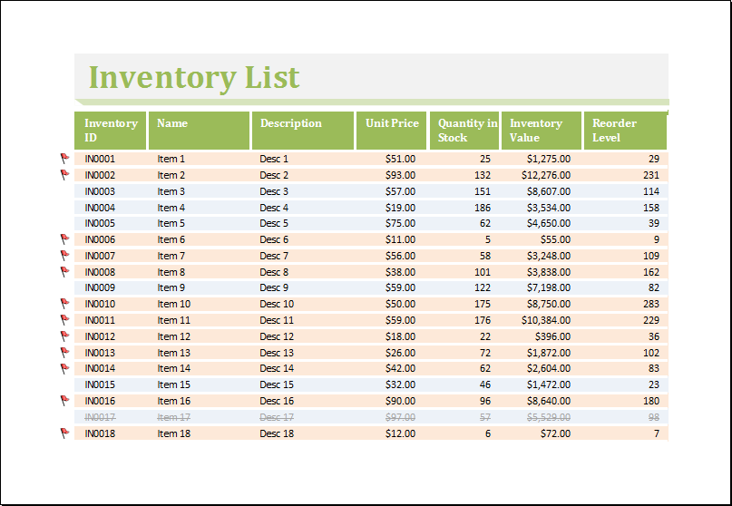 Inventory Worksheet Template for Excel – Inventory Worksheet