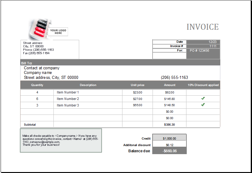 Excel Templates  Sales Invoice Example