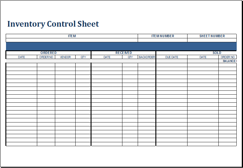 Inventory Control Sheet Template for EXCEL | Excel Templates