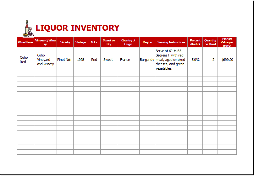 Liquor Inventory Sheet Template for EXCEL | Excel Templates