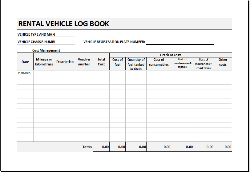 Rental Vehicle Log Book Template for EXCEL | Excel Templates