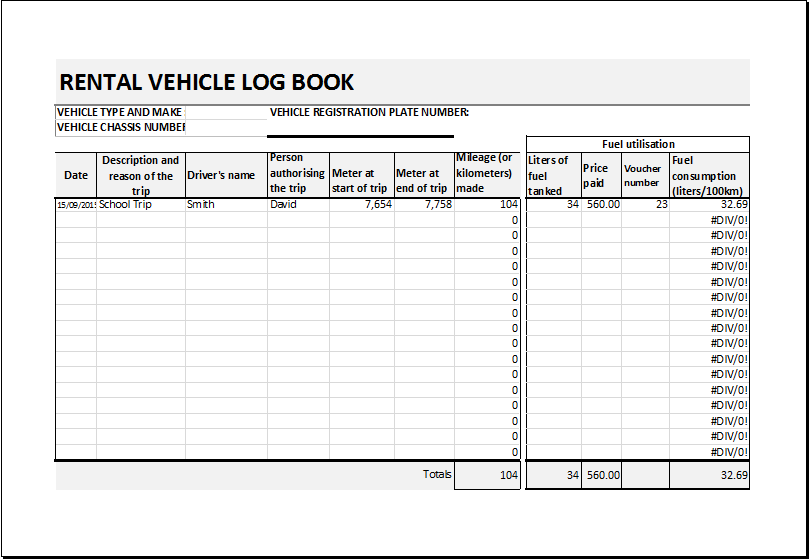 Rental vehicle log book template for excel excel templates for Truckers log book template