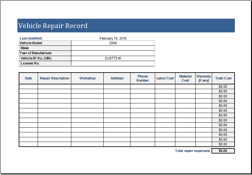Vehicle Repair Log  Excel Job Sheet Template