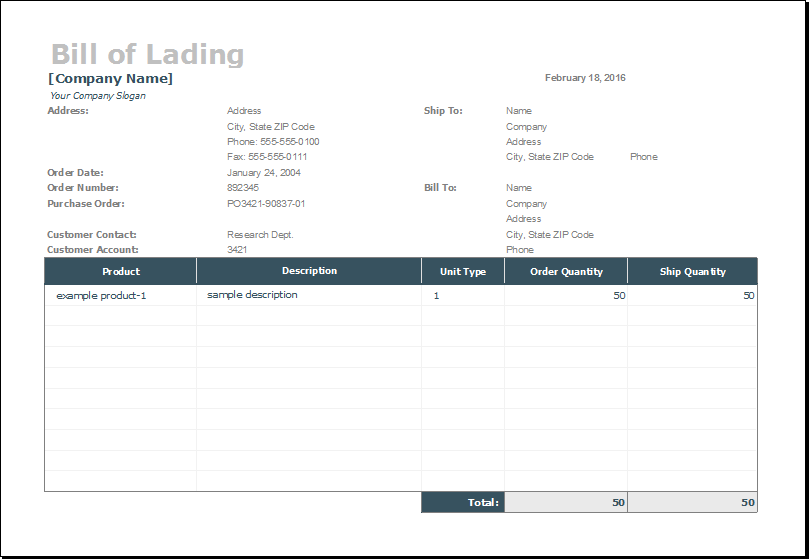 Bill of Lading Template for MS EXCEL – Bill of Lading Template