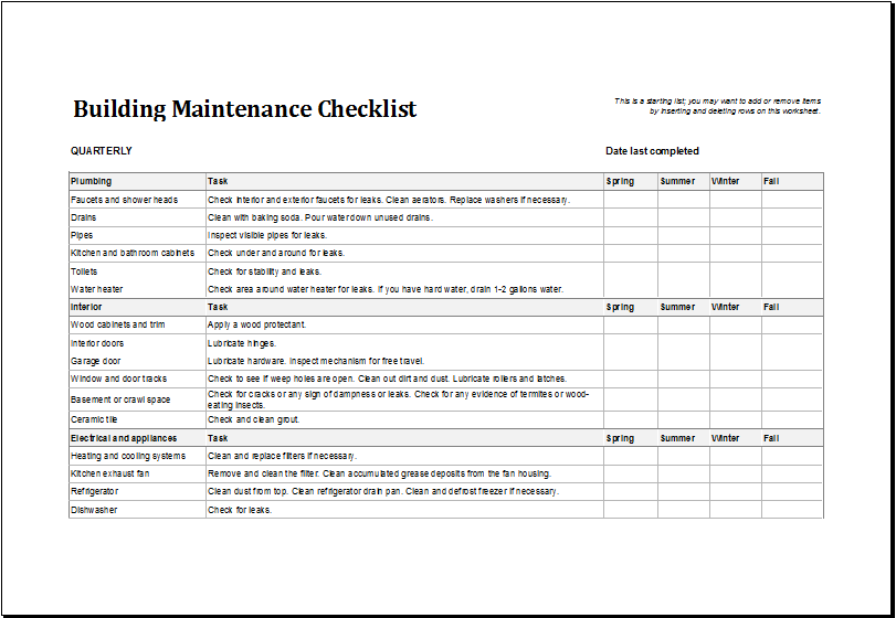 Building maintenance checklist template excel templates for New home building checklist