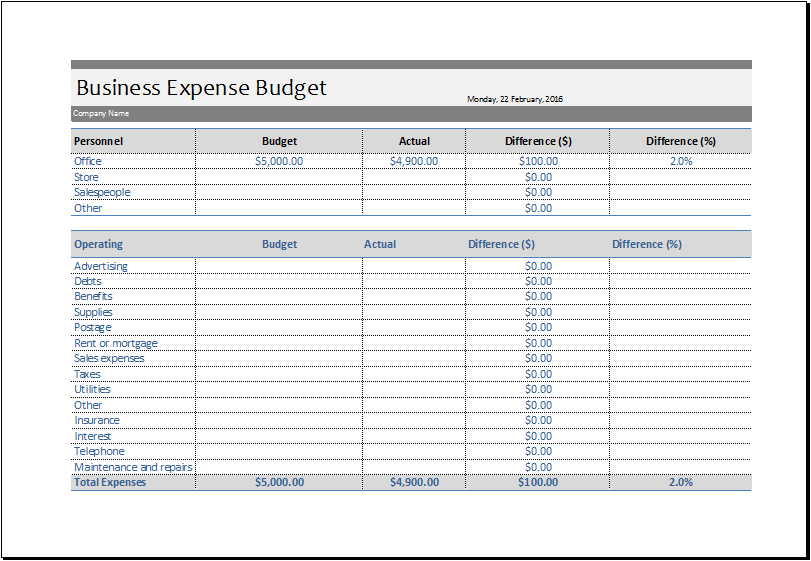Business Expense Budget Template for EXCEL – Expense Templates