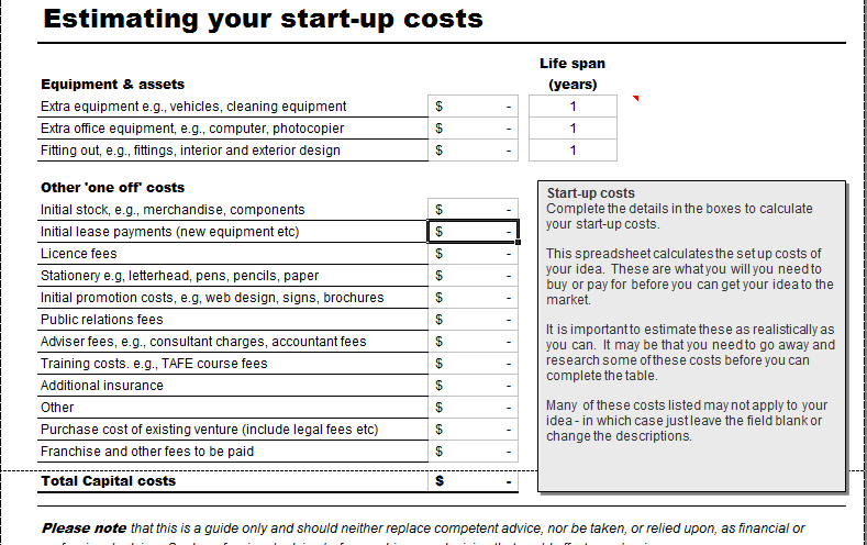 business start up costs calculator for excel