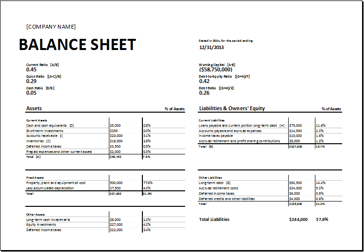 Calculating Ratios Balance Sheet Template for EXCEL – Microsoft Excel Balance Sheet Template