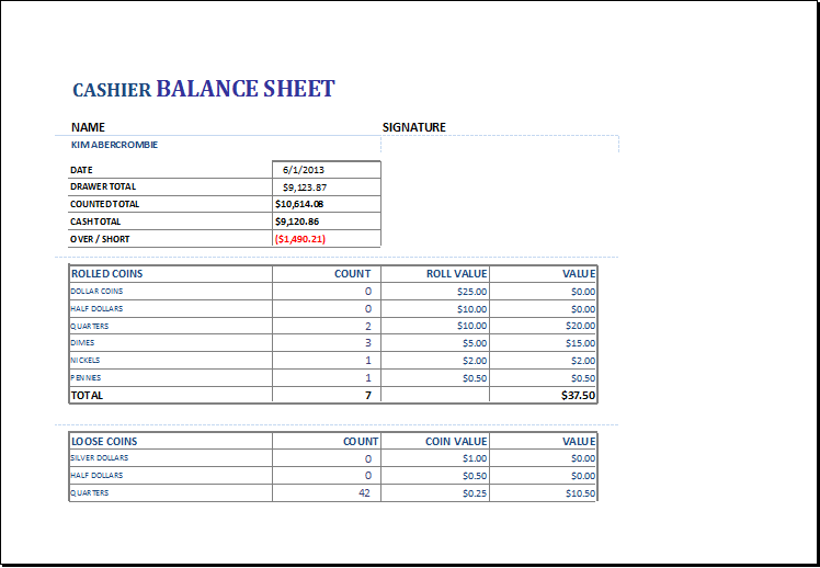 Cashier Balance Sheet Template for EXCEL – Microsoft Excel Balance Sheet Template