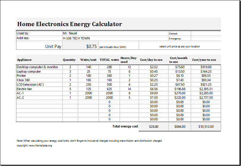 Electric energy cost calculator template for excel excel for Cost to build calculator free