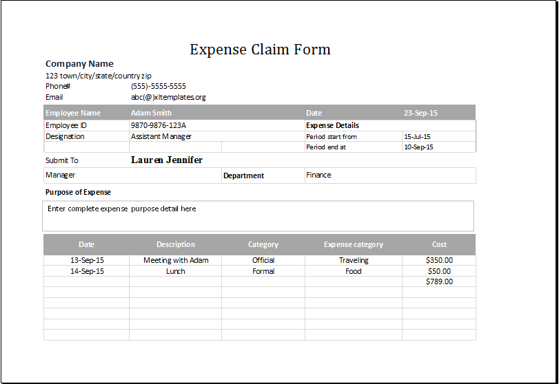 Expense Claim Form Template for EXCEL – Expense Templates