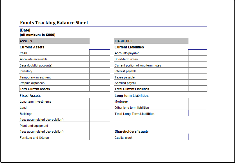 Funds Tracking Balance Sheet Template for EXCEL | Excel Templates