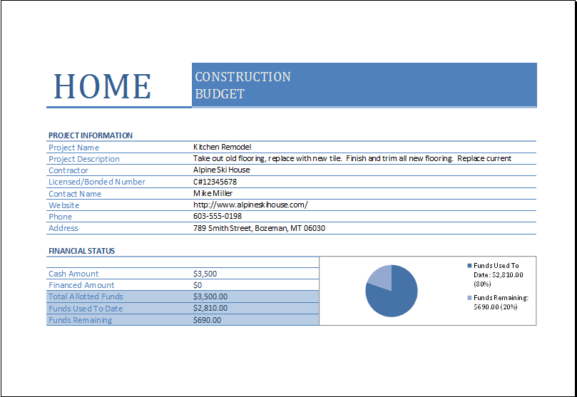 Home Construction Budget Worksheet for EXCEL | Excel Templates