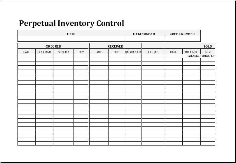 Perpetual Inventory Control Template for EXCEL Excel Templates