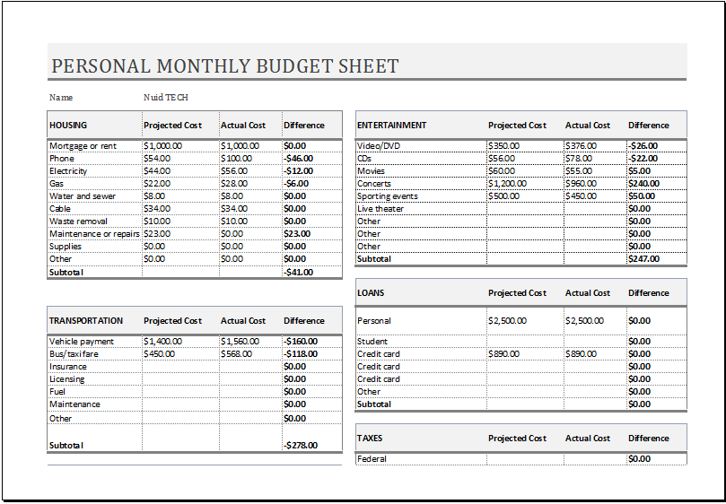 Personal Monthly Budget Sheet For Ms Excel Excel Templates