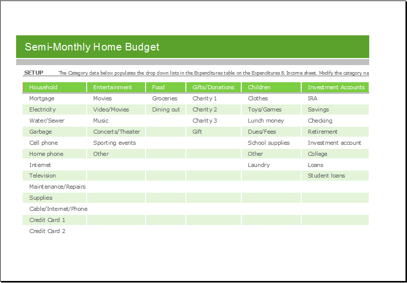 semi monthly home budget sheet
