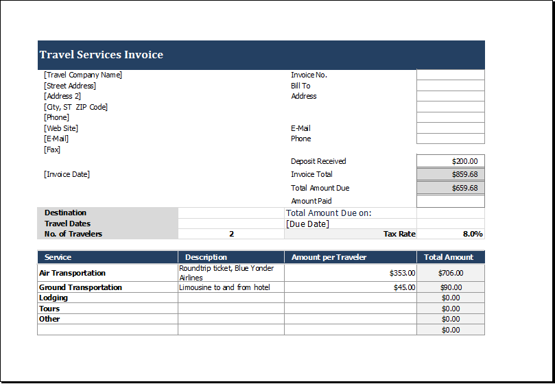 Travel Service Invoice Template for EXCEL – Service Bill Template