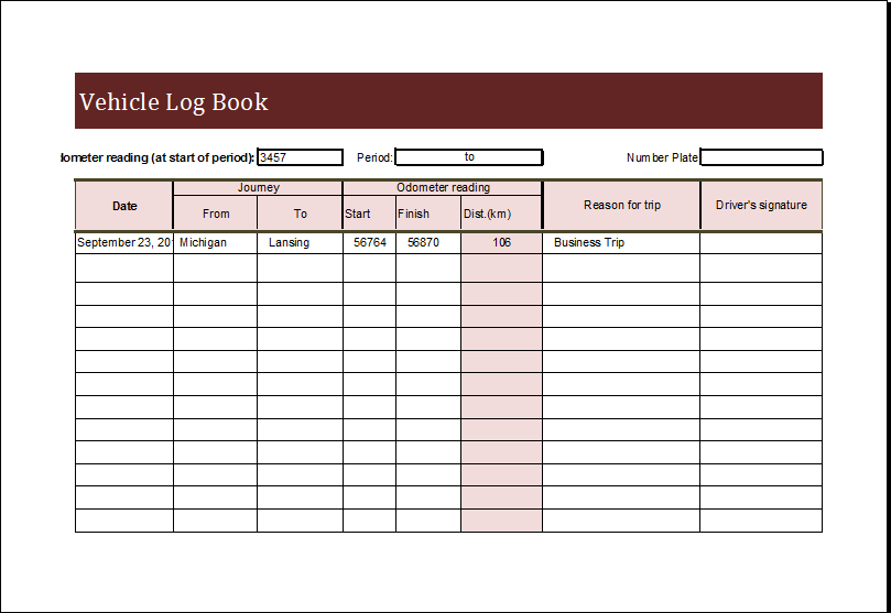 travel log book template excel