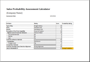 Sales probability assessment calculator