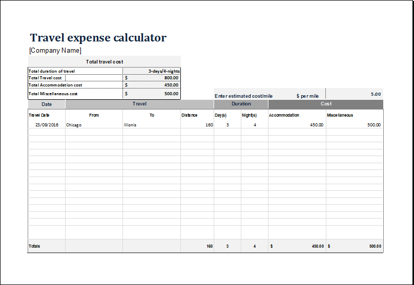 15 Business Financial Calculator Templates for EXCEL – Travel Expense Calculator Template