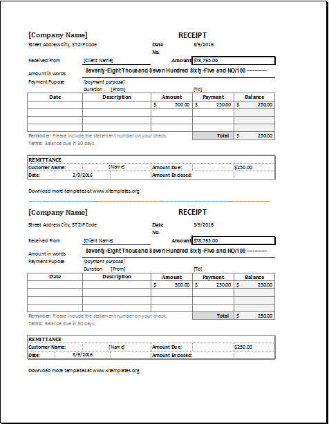 Cash Receipt Template For Ms Excel Excel Templates