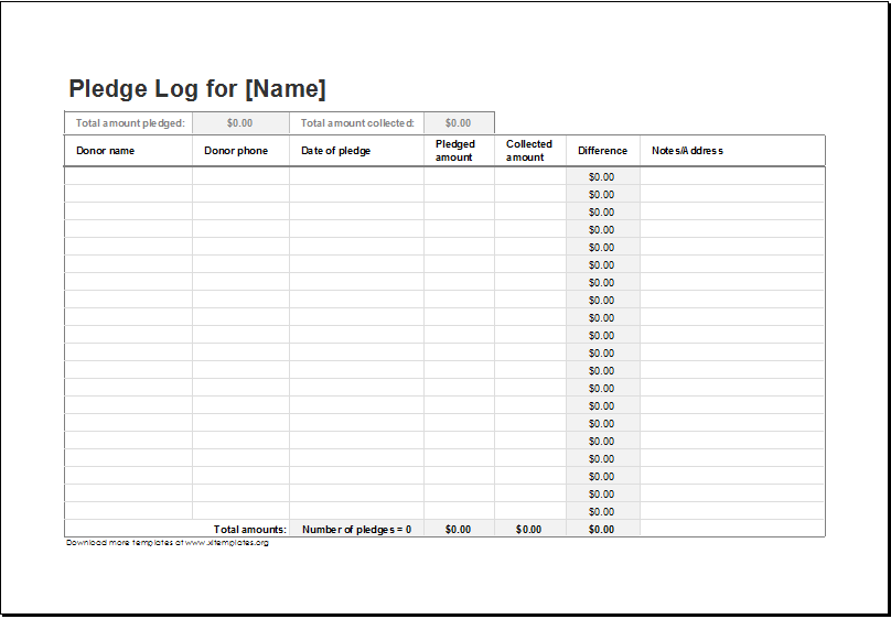 Donation pledge log template for excel excel templates for Charity pledge form template