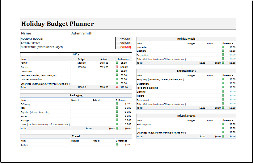 Holiday Budget Planner Template for EXCEL | Excel Templates