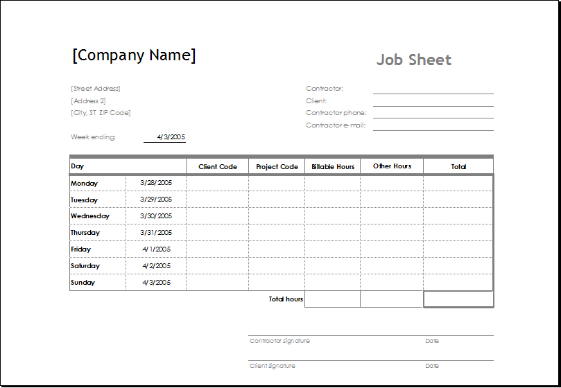 Attractive Job Sheet Template Intended Excel Job Sheet Template