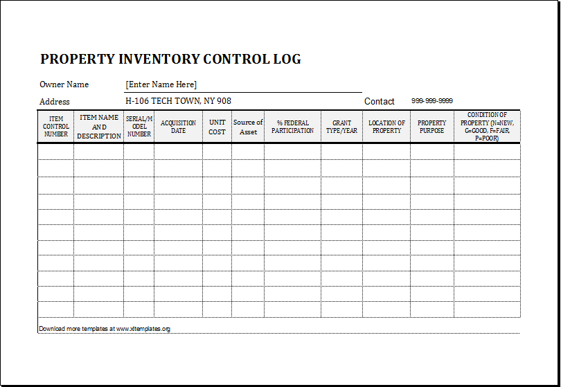 Property Inventory Log Template for EXCEL | Excel Templates