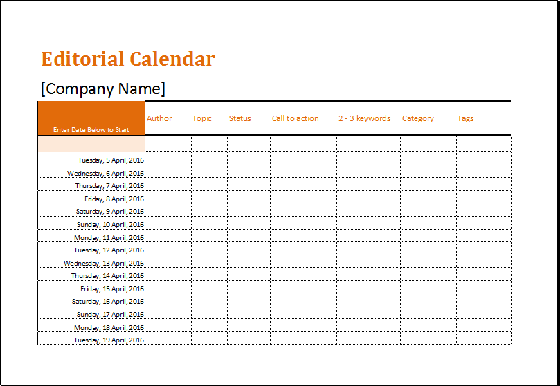 Editorial Calendar Template for MS EXCEL | Excel Templates